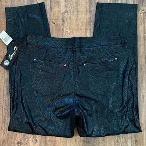 Seven 7 Black Shiny Snake Skin Printed Pants NWT
